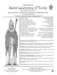 Bulletin (July 18, 2010) - Church of St. Lawrence O'Toole