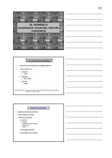 X Vapnenci II (Klasifikacije, strukture, teksture i dijageneza)