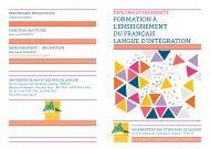 FORMATION À L'ENSEIGNEMENT DU FRANÇAIS LANGUE D'INTÉGRATION