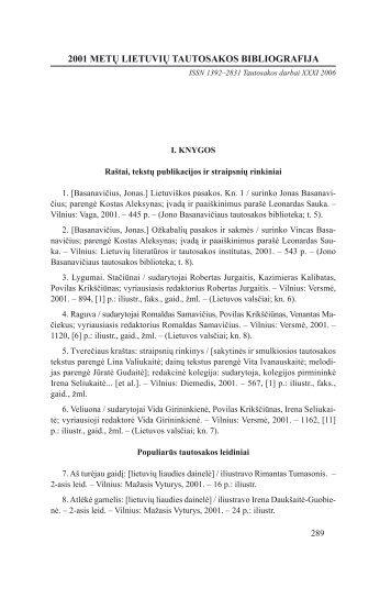 2001 metų lietuvių tautosakos bibliografija - Lietuvių literatūros ir ...