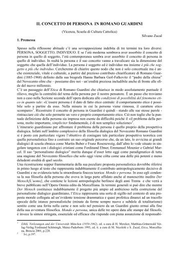 IL CONCETTO DI PERSONA IN ROMANO GUARDINI - Webdiocesi