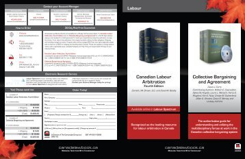 Canadian Labour Arbitration Collective Bargaining and ... - Carswell