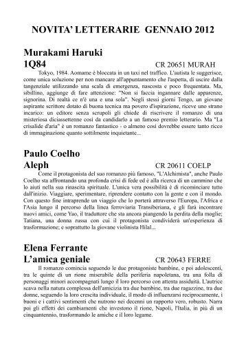 NOVITA' LETTERARIE GENNAIO 2012 Murakami Haruki 1Q84 ...