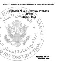 Report on the Hammam Al Alil Division Training Center ... - SIGIR