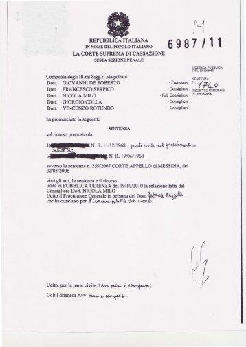 Cassazione VI Sezione Pen. Sentenza n.6982 del 23 02 2011 - Aiaf