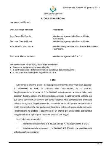 Decisione N. 530 del 28 gennaio 2013 - Arbitro Bancario Finanziario