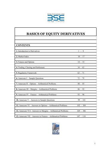 BASICS OF EQUITY DERIVATIVES - BSE