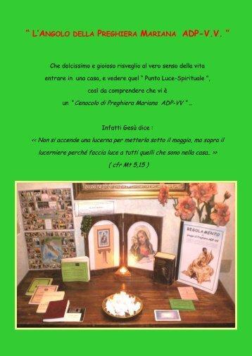 l'angolo della preghiera mariana adp-vv - piccoli frati e sorelle v