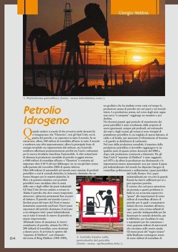 Petrolio. Idrogeno, rubrica di Giorgio Nebbia