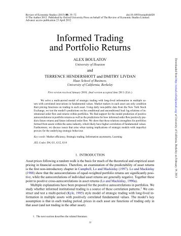 Informed Trading and Portfolio Returns - Faculty & Research ...