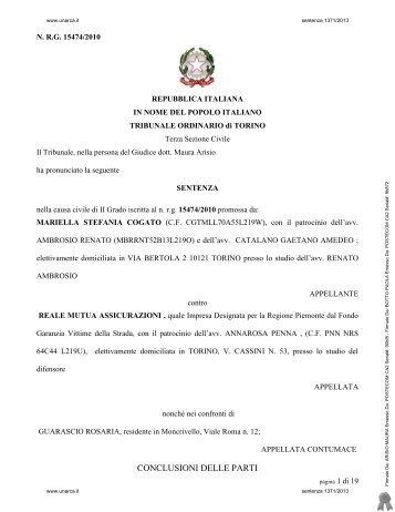 Tribunale di Torino Sez. III Civile, GU Arisio, sentenza 8 ... - UNARCA