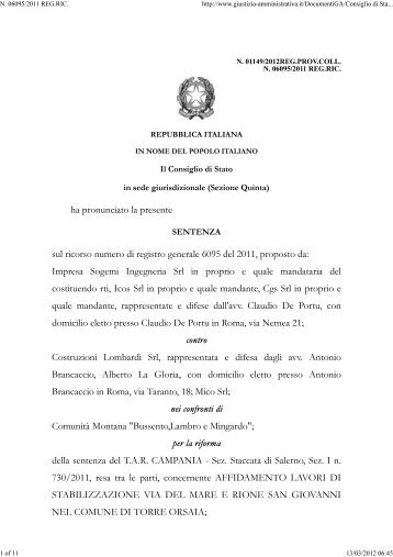 PA vincolata da legge garaN. 06095_2011 REG.RIC ... - CloudMe
