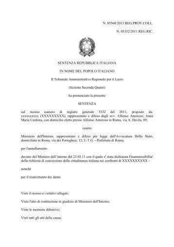 Sentenza TAR Lazio 4 giugno 2013, n. 5568