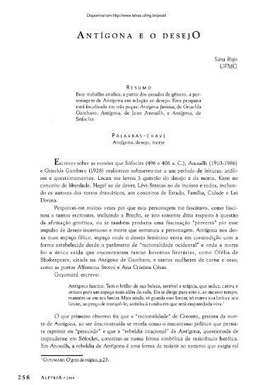 ANTÍGONA E O DESEJO - Fale - UFMG