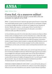 Corea Sud, via a manovre militari - Francosabatini.org
