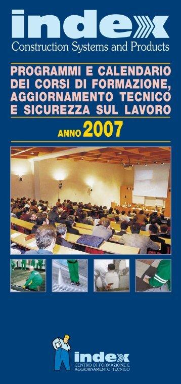PROgRAMMI E CALENDARIO DEI CORSI DI ... - Index S.p.A.