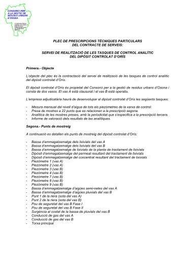 PLEC DE PRESCRIPCIONS TÈCNIQUES PARTICULARS