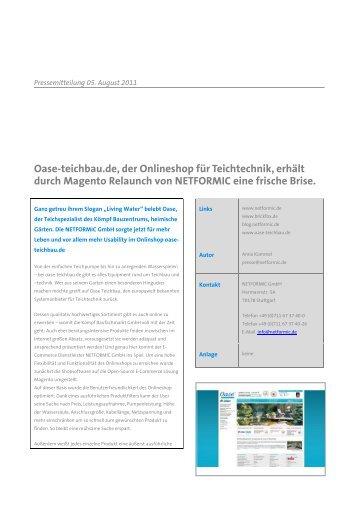Oase-teichbau.de, der Onlineshop für ... - NETFORMIC GmbH