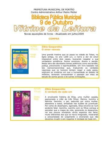 23/07/2009 Novas Aquisições de Livros - Julho 2009 - Prefeitura de ...