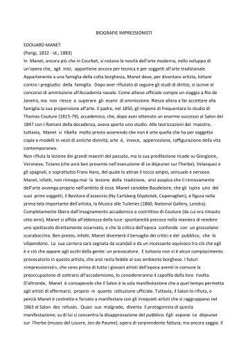 BIOGRAFIE IMPRESSIONISTI EDOUARD MANET ... - Istituto Canossa