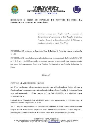 INSTITUTO DE FÍSICA - Universidade Federal de Uberlândia