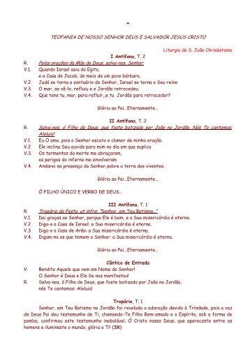 Texto Complementar da Theofania - Eparquia Ortodoxa do Brasil