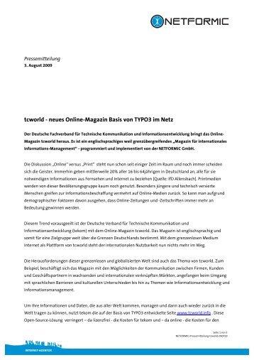tcworld - neues  Online-Magazin Basis von ... - NETFORMIC GmbH