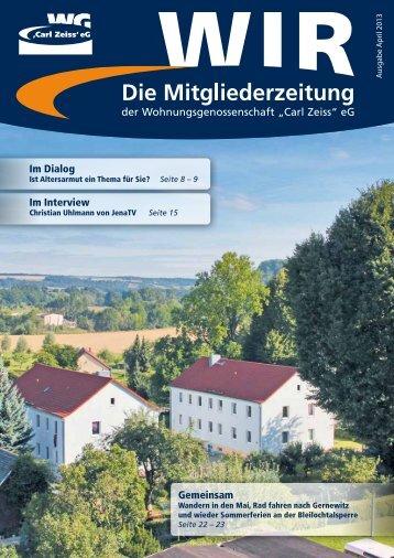 """""""WIR"""" [Ausgabe 1/2013] - Wohnungsgenossenschaft Carl Zeiss eG"""