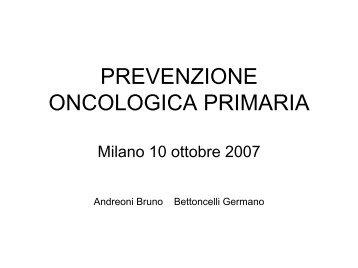La prevenzione oncologica primaria