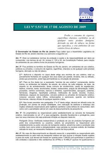 LEI Nº 5.517 DE 17 DE AGOSTO DE 2009 - Amperj