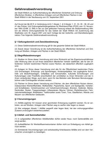 Gefahrenabwehrverordnung der Stadt Wittlich zur Aufrechterhaltung ...