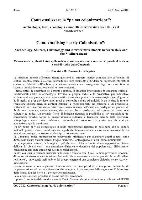 L. Cerchiai, M.A. Cuozzo, C. Pellegrino - Academia Belgica
