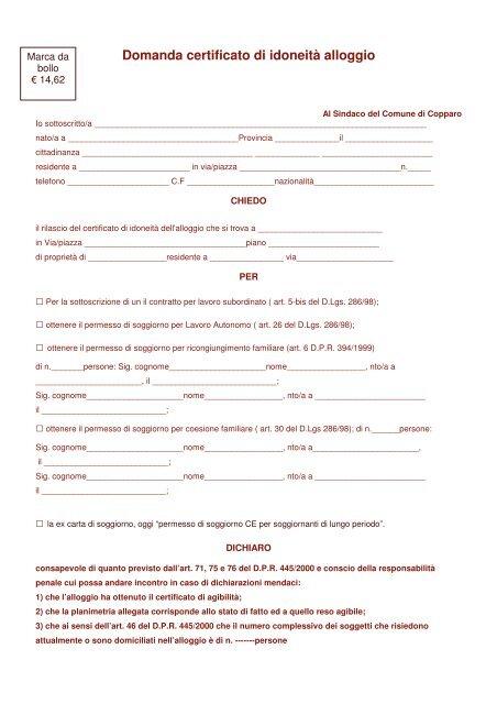 Domanda certificato di idoneità alloggio - Comune di Copparo