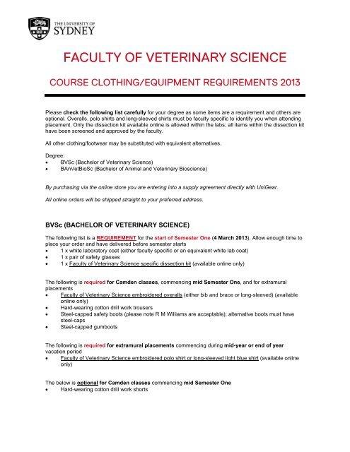 the Faculty of Veterinary Science online eStore
