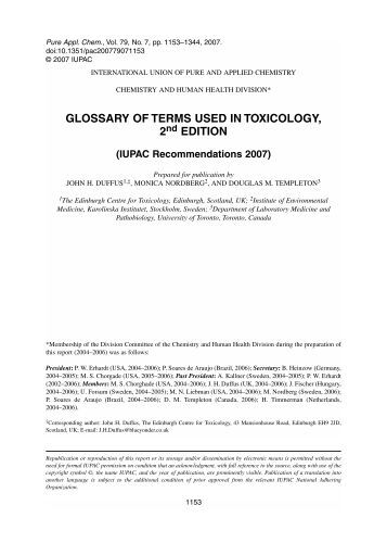 Glossary of terms used in toxicology, 2nd edition (IUPAC ...