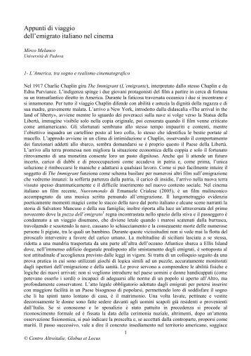 Appunti di viaggio dell?emigrato italiano nel cinema - Altreitalie