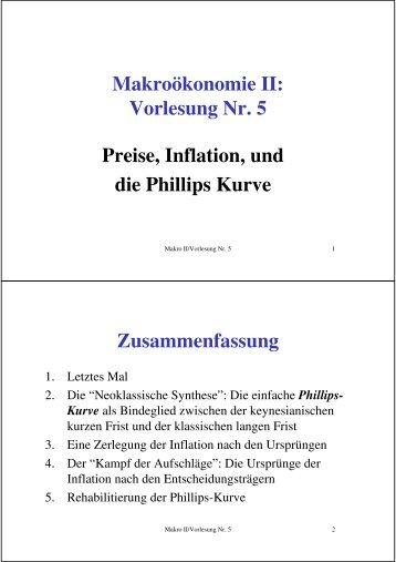 Makroökonomie II: Vorlesung Nr. 5 Preise, Inflation, und die Phillips ...