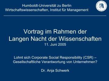 CSR - Humboldt-Universität zu Berlin