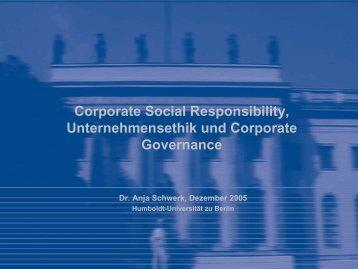 CSR und Corporate Governance - Wirtschaftswissenschaftliche ...