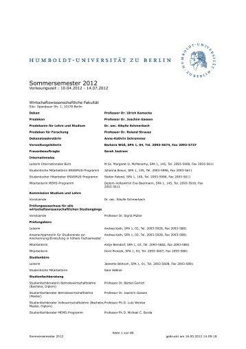 2012 - Wirtschaftswissenschaftliche Fakultät - Humboldt-Universität ...