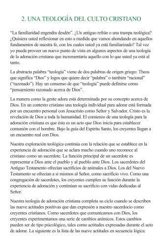 2. UNA TEOLOGÍA DEL CULTO CRISTIANO - M.I. Estrategia de Vida