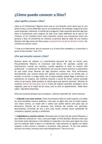 """""""Cómo conocer a Dios"""" en PDF - Iglesia Cristiana Evangélica Añoreta"""