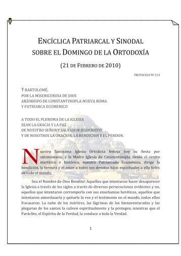 encíclica patriarcal y sinodal sobre el domingo de la ... - Ecclesia