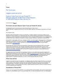 Reyburn CyberTuner v2.x per Pocket PC Manuale realizzato da ...
