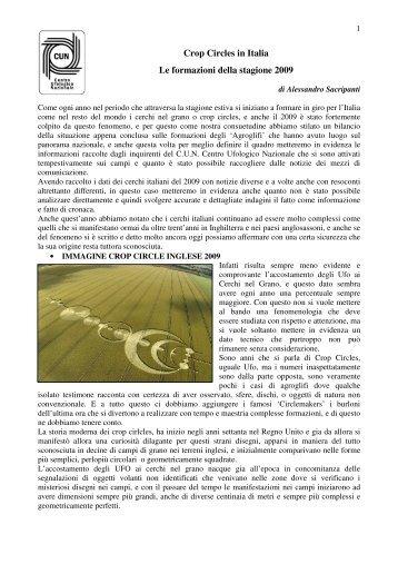 Crop Circles in Italia Le formazioni della stagione 2009 - Oltrepensiero