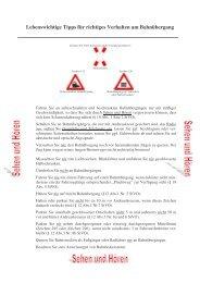 Lebenswichtige Tipps für richtiges Verhalten am Bahnübergang - WLE