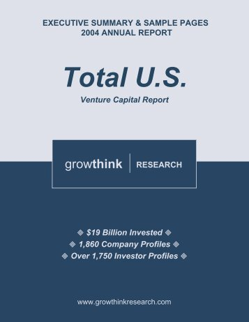 Growthink Research 2004 Annual Total U.S. Venture Capital Report