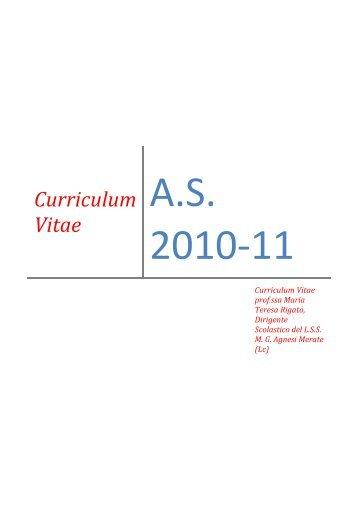 Curriculum dot.ssa Rigato Maria Teresa - Liceo Statale MG Agnesi