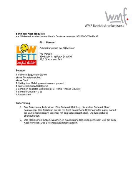 "LowFett 30-Rezepte ""Pausenbrote"" - Vaillant BKK"