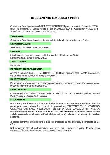 REGOLAMENTO CONCORSO A PREMI - Bialetti